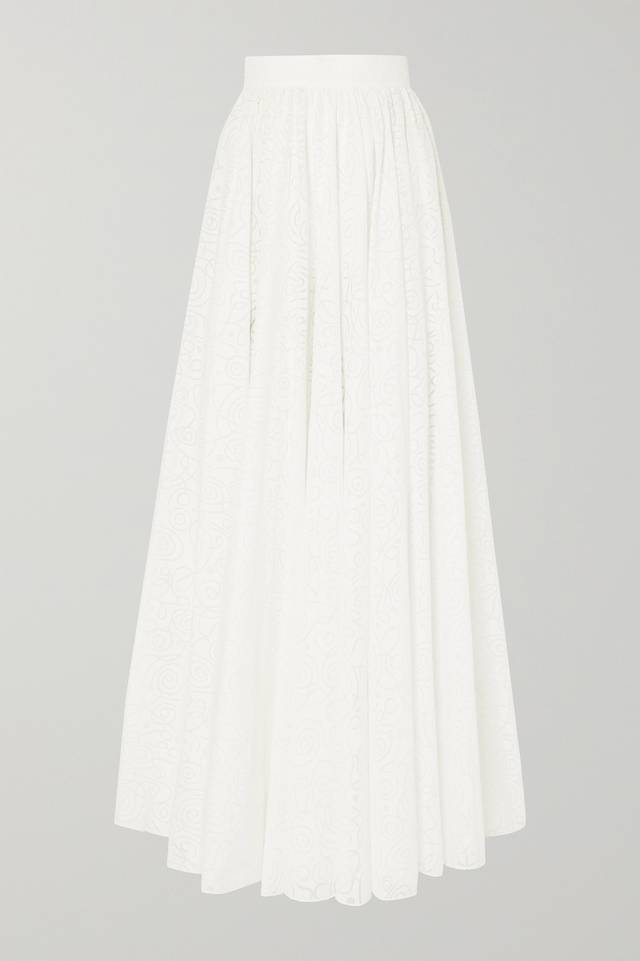 Alaïa Pleated cotton-blend jacquard maxi skirt