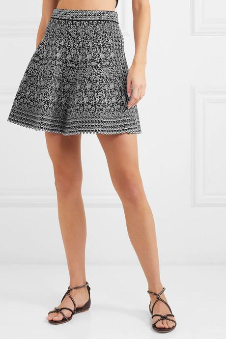 Jacquard-knit wrap mini skirt