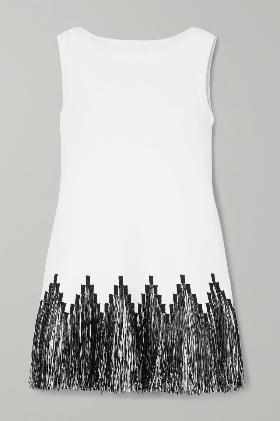 Alaïa Fringed raffia-trimmed jacquard-knit top