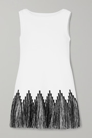 Alaïa Fringed raffia-trimmed jacquard-knit top