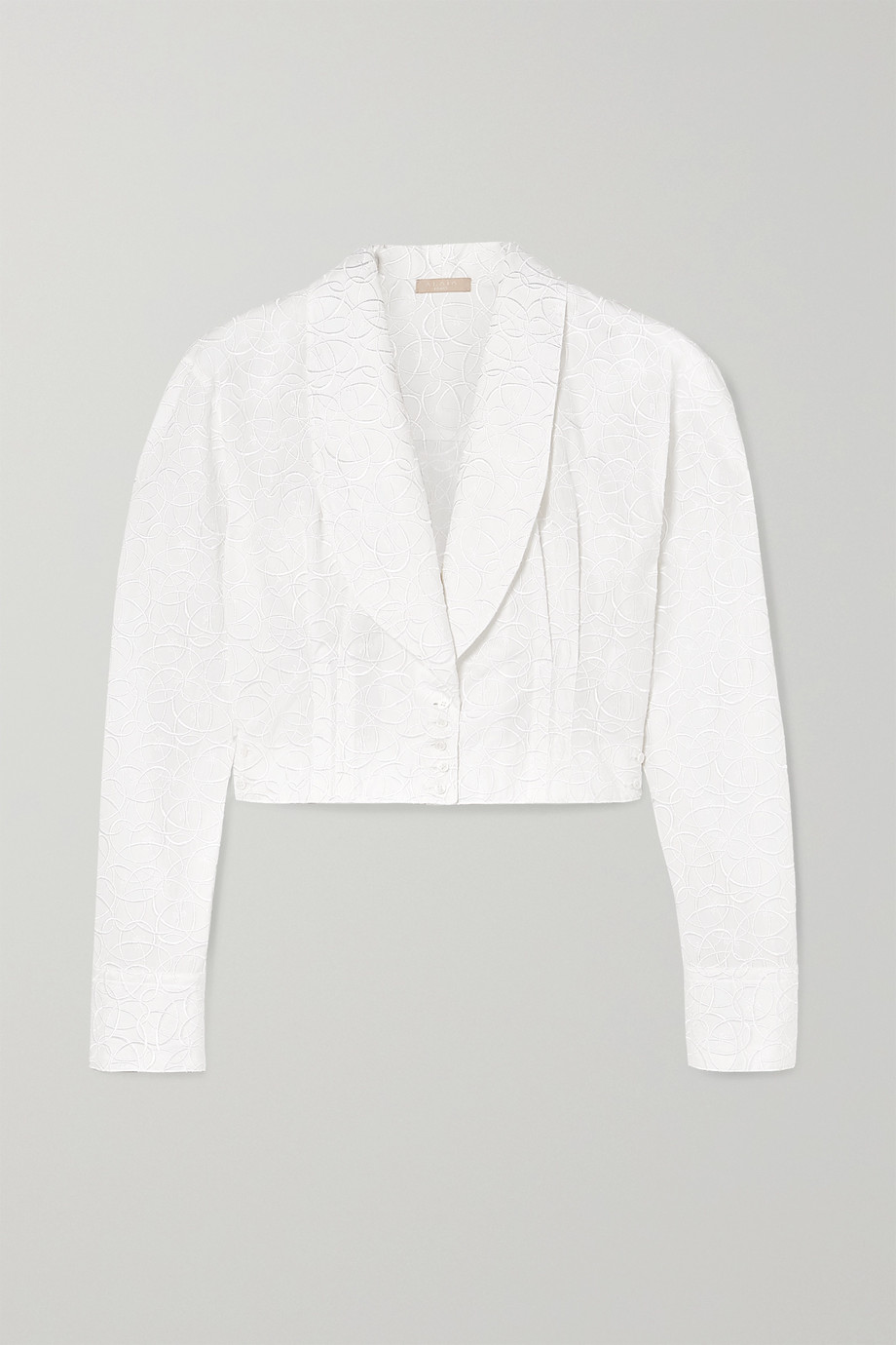 Alaïa Cropped embroidered cotton-poplin blouse