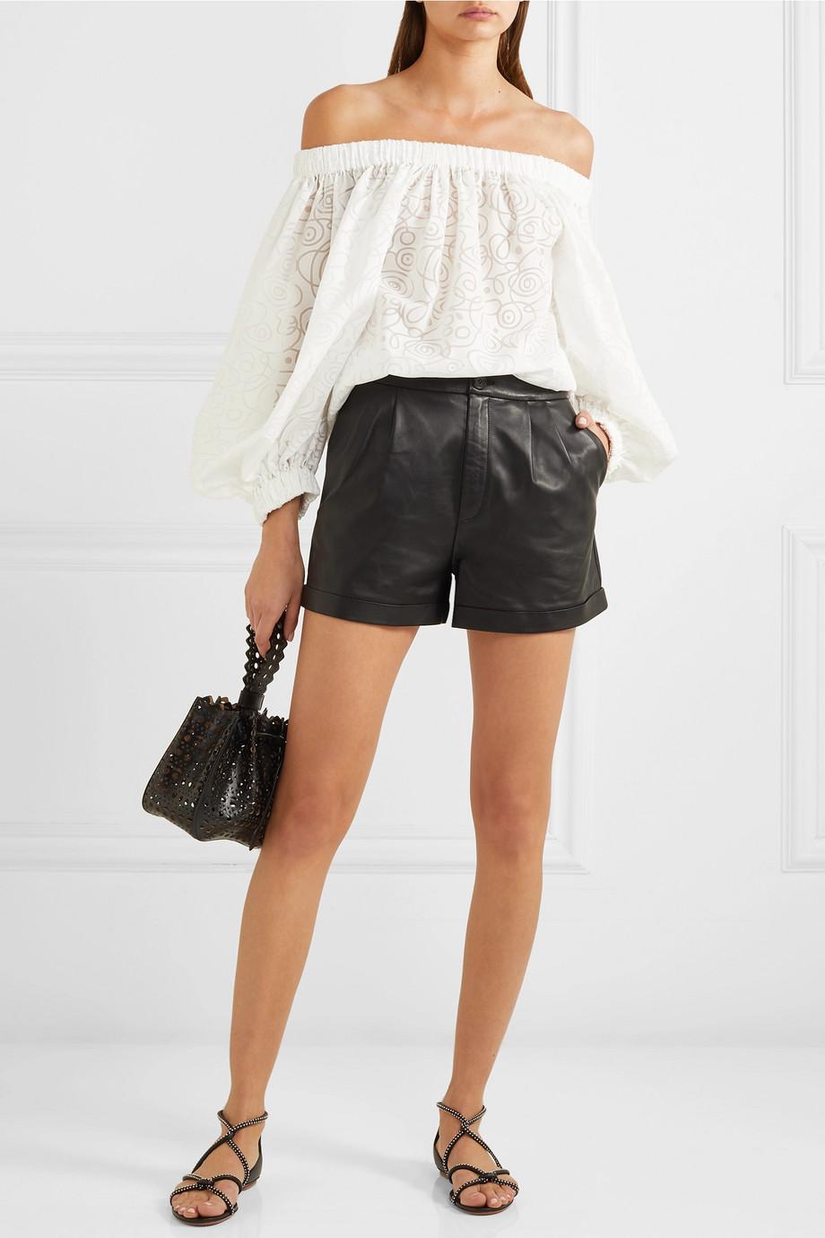 Alaïa Off-the-shoulder cotton-blend jacquard blouse