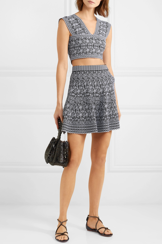 Alaïa Cropped jacquard-knit top