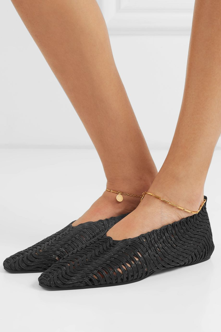 Stella McCartney Embellished woven cotton point-toe flats