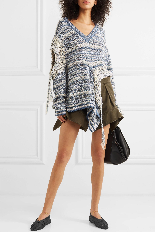 Stella McCartney Embellished woven cotton point-toe flats