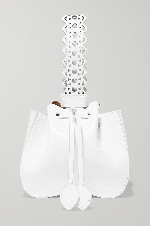 Alaïa Rose Marie Beuteltasche aus Alligatorleder mit lasergeschnittenen Details