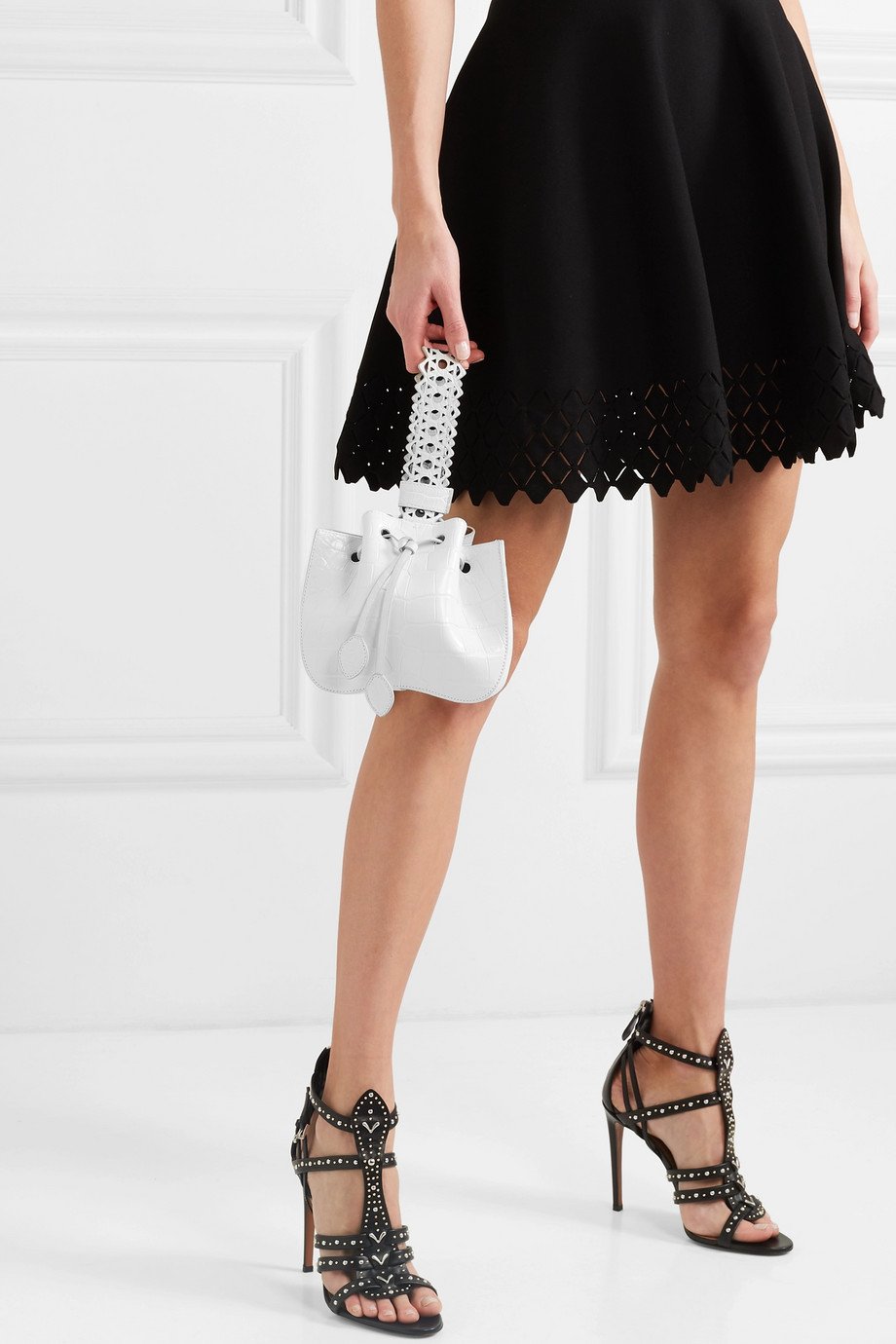 Alaïa Rose Marie laser-cut alligator bucket bag
