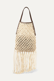 Leather-trimmed fringed macramé tote