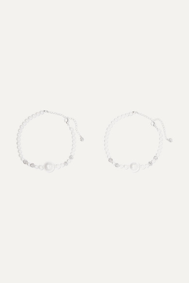 Set Of Two Faux Pearl And Crystal Anklets by Magda Butrym