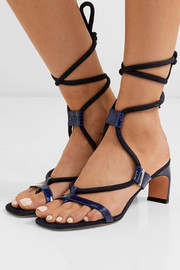 Patent-leather and suede sandals