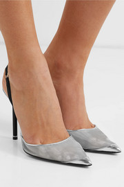 Alix metallic mesh and leather slingback pumps