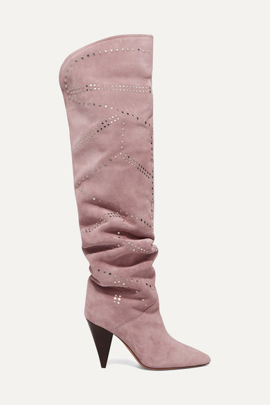 Ladra Studded Suede Knee Boots by Isabel Marant