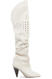 Isabel Marant Lyde laser-cut suede thigh boots