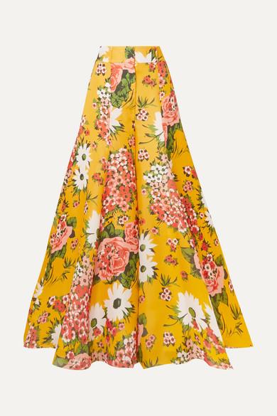 Carolina Herrera Pants Floral-print silk-organza wide-leg pants