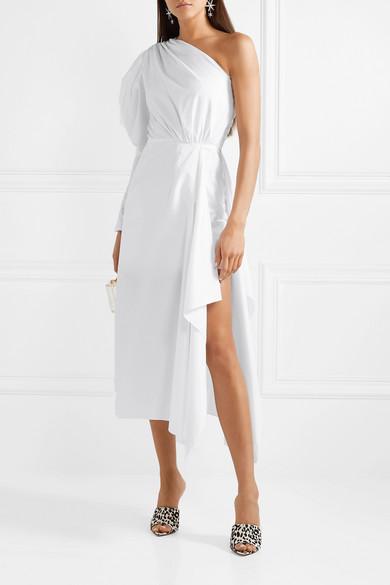 545fa59b95a One-shoulder gathered cotton-poplin midi dress