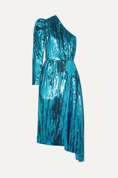 25312b2764 16ARLINGTON. One-shoulder sequined chiffon midi dress
