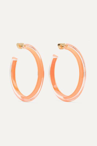 ALISON LOU Medium Jelly Lucite And Enamel Hoop Earrings in Gold