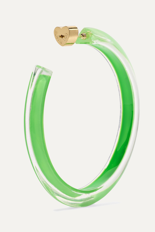 Gold Medium Jelly Lucite And Enamel Hoop Earrings | Alison Lou