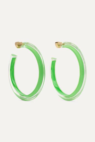 29fe3bda692c0 Medium Jelly Lucite and enamel hoop earrings