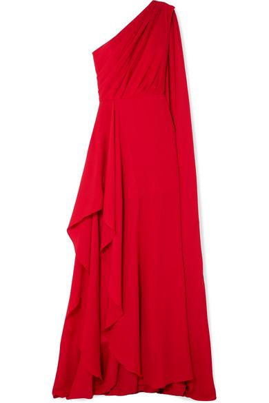 One Shoulder Asymmetric Silk Georgette Gown by Elie Saab