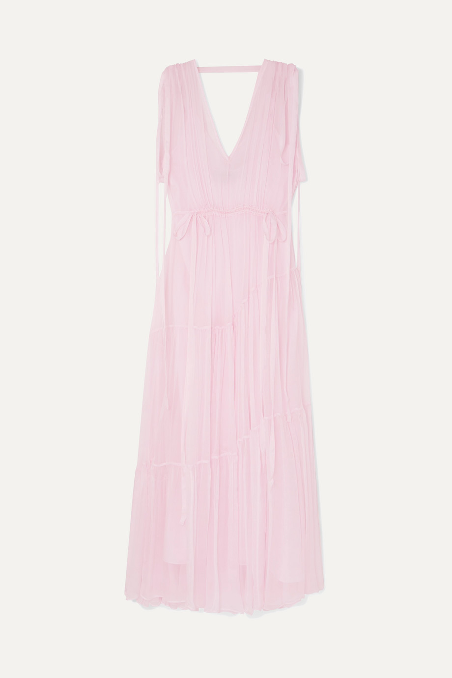 Lee Mathews   Petra ruched tiered silk-georgette maxi dress   NET-A-PORTER.COM