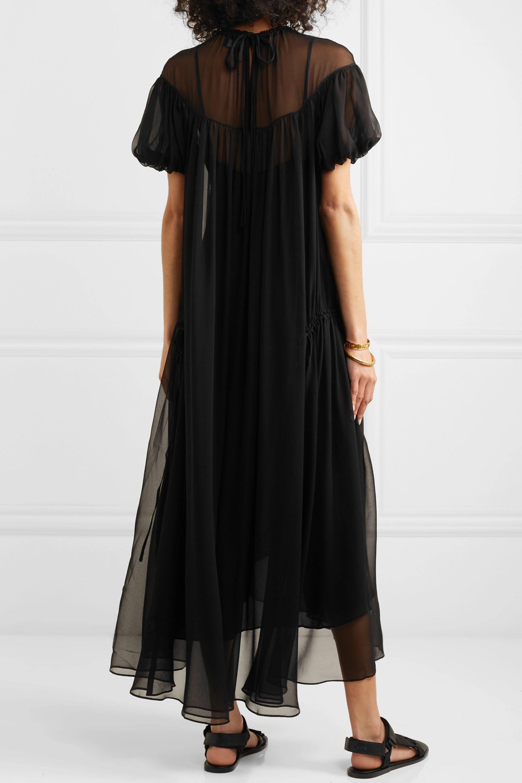 Lee Mathews Emily ruched silk-georgette maxi dress