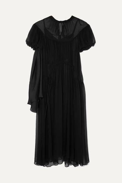 Lee Mathews Dresses EMILY RUCHED SILK-GEORGETTE MAXI DRESS