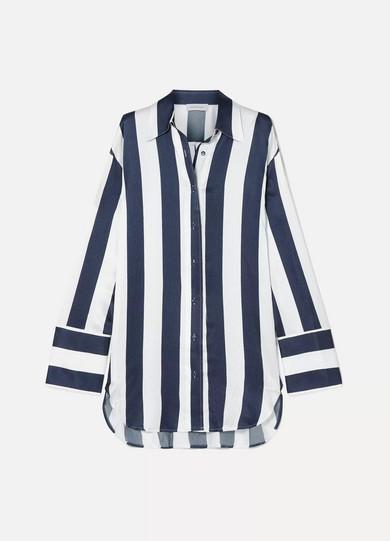 Lee Mathews T-shirts INGRID OVERSIZED STRIPED HAMMERED SILK-SATIN SHIRT