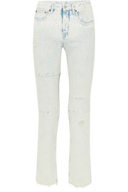 Distressed printed mid-rise straight-leg jeans