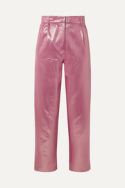 + Georgina Brandolini d'Adda Diva Royal striped lamé tapered pants