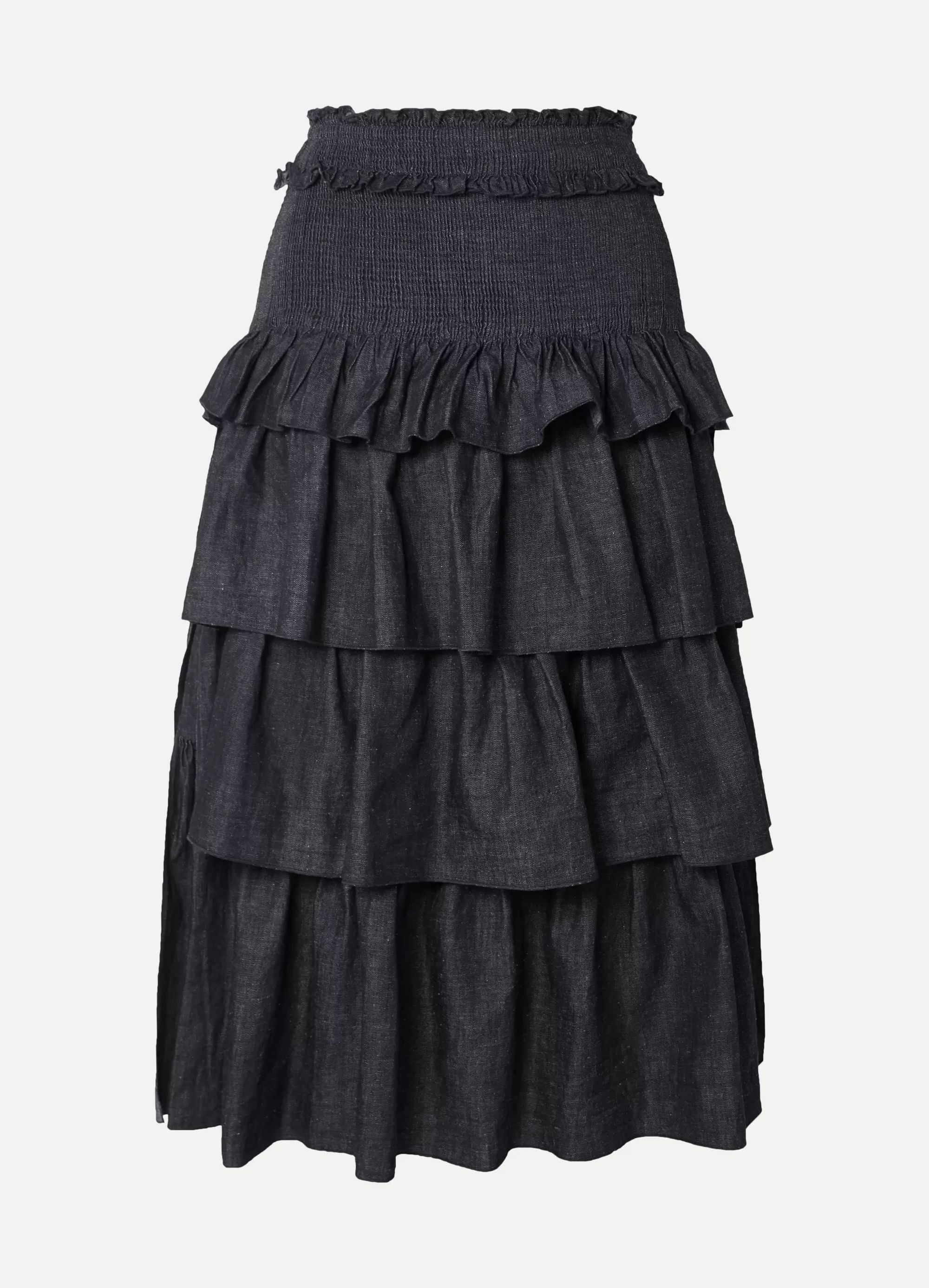 See By Chloé Tiered denim midi skirt