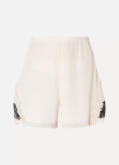Lace Trimmed Crepe De Chine Shorts