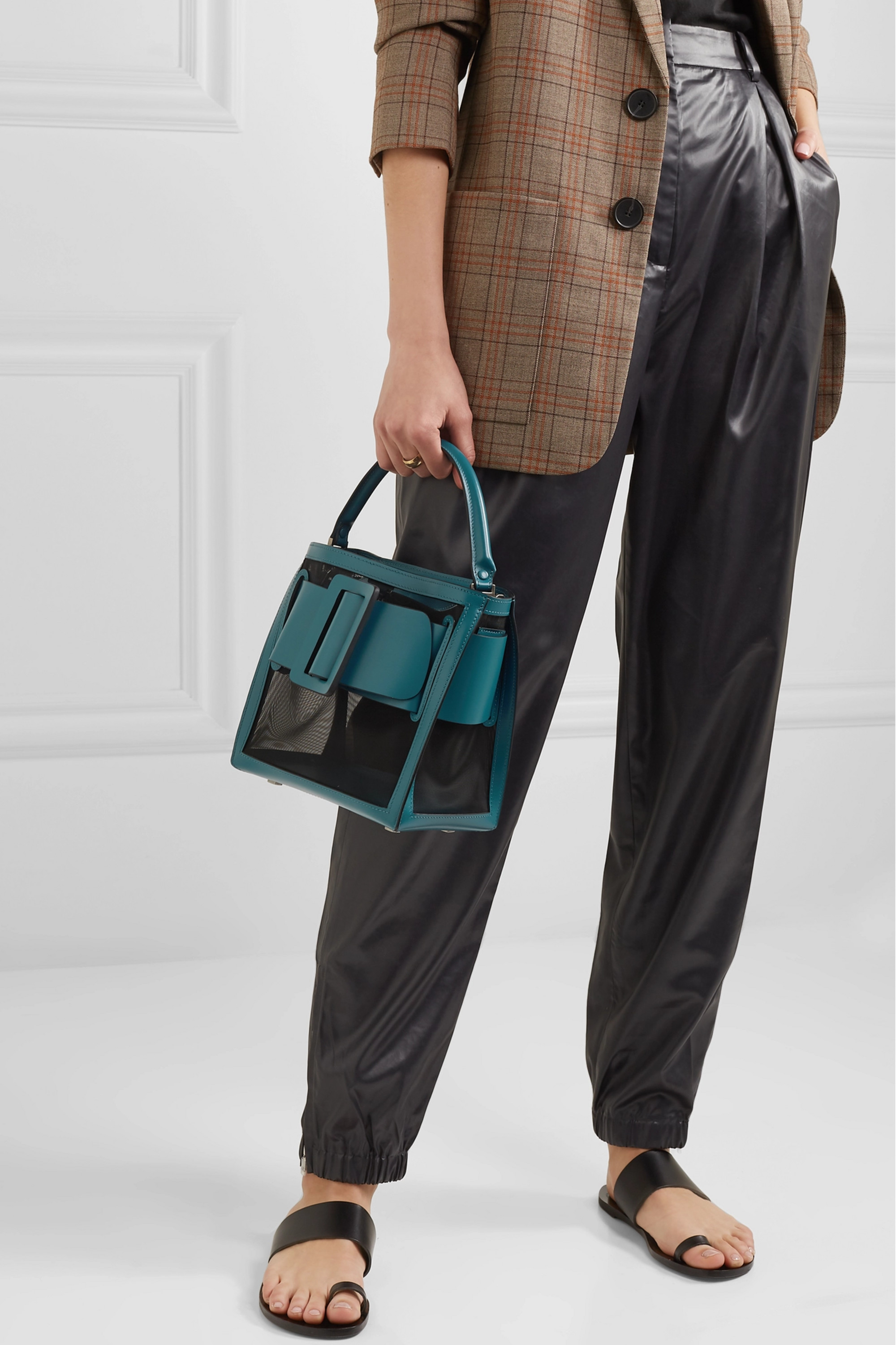 BOYY Devon 21 buckled two-tone leather and mesh tote