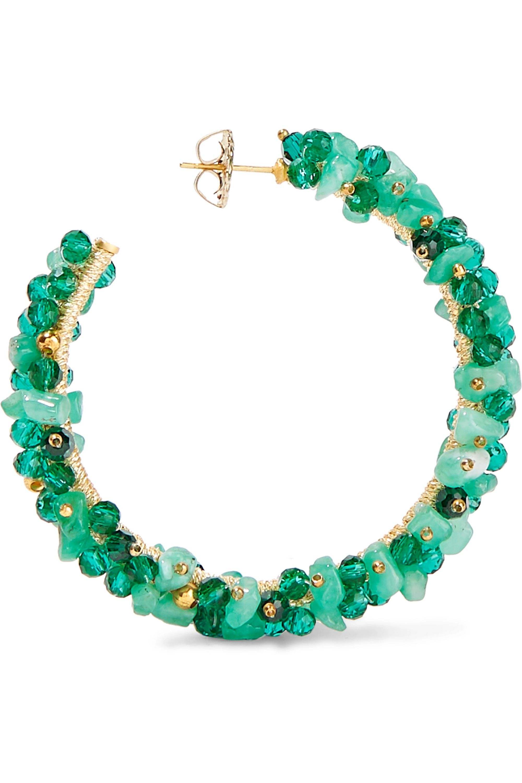 Bibi Marini Baru gold-plated, emerald and Swarovski crystal hoop earrings