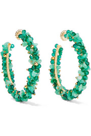 Baru gold-plated, emerald and Swarovski crystal hoop earrings