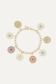 Marlo Laz 14-karat yellow, rose and white gold, enamel and multi-stone bracelet