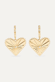 Marlo Laz Mini Heart 14-karat gold diamond hoop earrings