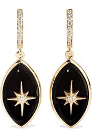 Eyecon 14-karat gold, onyx and diamond hoop earrings