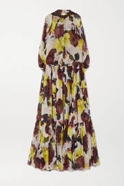 Julianne ruffled floral-print silk-chiffon gown
