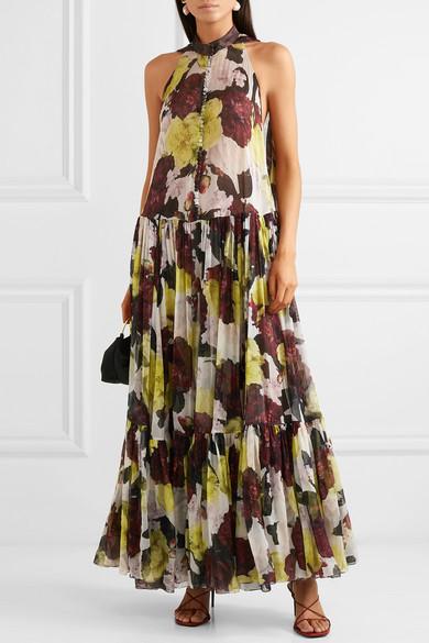 Erdem | Julianne ruffled floral print silk chiffon gown