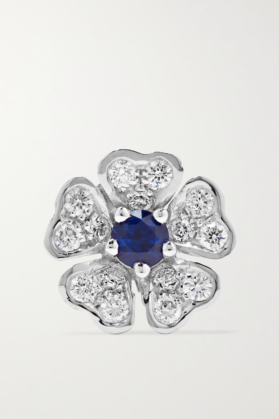 Maria Tash 8mm 18-karat white gold, diamond and sapphire earring