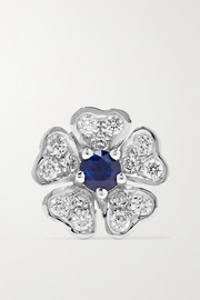 Maria Tash 8mm 18-karat white gold, diamond and sapphire earring