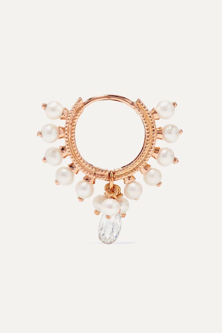 Maria Tash 8mm 14-karat rose gold, pearl and diamond hoop earring