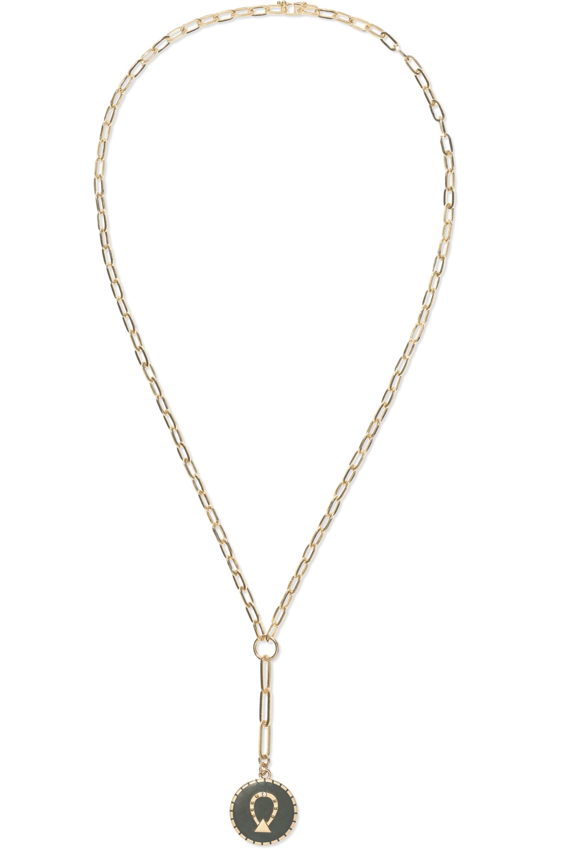 Foundrae Horseshoe 18-karat gold, enamel and diamond necklace