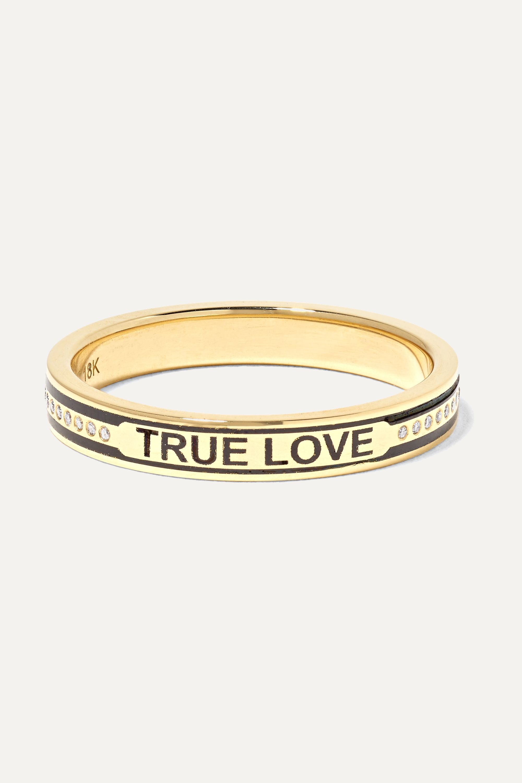 Foundrae True Love 18-karat gold, diamond and enamel ring