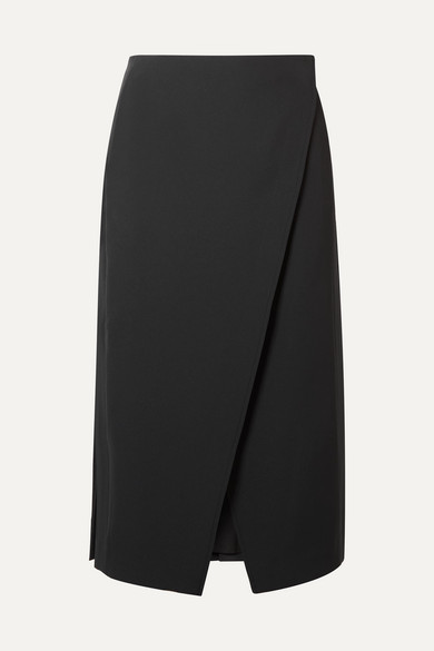 kari-pleated-twill-wrap-skirt by beaufille