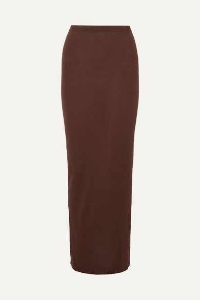 Rick Owens Skirts Gonna ruched silk-blend maxi skirt