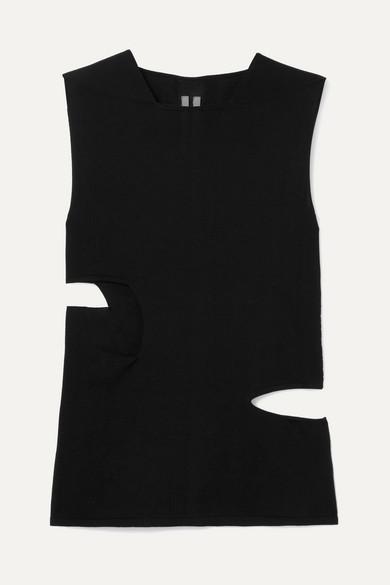 Rick Owens Tops Mesh-trimmed cutout silk-jersey tank