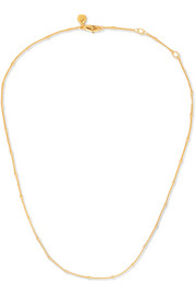 "Fine Beaded 16-18"" gold vermeil chain"