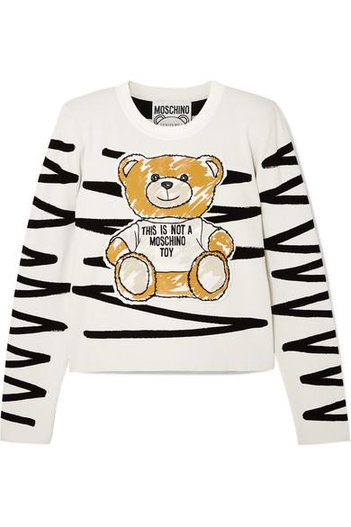 Cropped Appliquéd Jersey Sweatshirt by Moschino